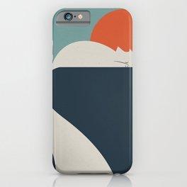 White Cat and orange sun iPhone Case