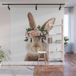 Baby Rabbit, Brown Bunny With Flower Crown, Baby Animals Art Print By Synplus Wall Mural