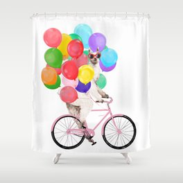 Fashion Llama Riding with Colourful Balloons Shower Curtain