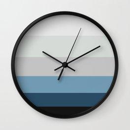 Blue & Grey Gradient Stripes Wall Clock