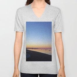Winter Beach Sunset Unisex V-Neck