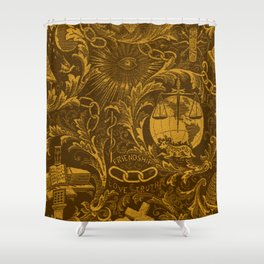 Bronze IOOF Woven Symbolism Tapestry Shower Curtain