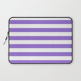 Narrow Horizontal Stripes - White and Dark Pastel Purple Laptop Sleeve
