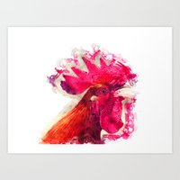 rooster Art Prints featuring Rooster by jbjart