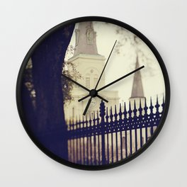 St Louis Cathedral through the trees Wall Clock
