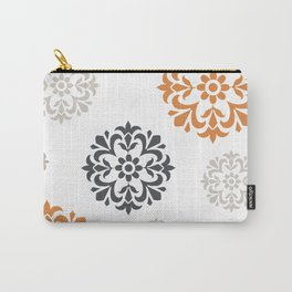 Flowers in Grey and Mustard Carry-All Pouch