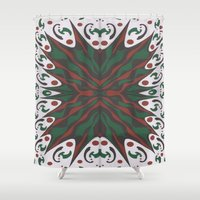 merry christmas Shower Curtains featuring Merry Christmas by MissCrocodile63