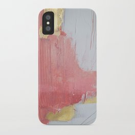 Melody: a pretty minimal abstract painting in gold pink and white by Alyssa Hamilton Art iPhone Case