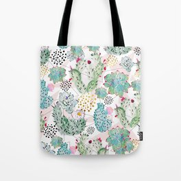 Modern triangles and hand paint cactus pattern Tote Bag