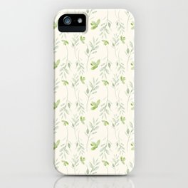 Hand painted watercolor pastel green ivory leaves floral iPhone Case