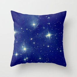 Blue starry night Throw Pillow
