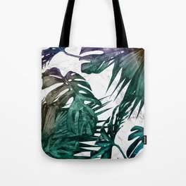 Tropical Palm Leaves on Marble Tote Bag