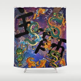 Japanese Motif Shower Curtain
