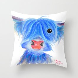 Scottish Highland Cow ' PUGGLES ' by Shirley MacArthur Throw Pillow