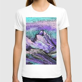 Abstract landscape with mountains and hills by pastel T-shirt