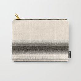 Organic Stripes - Minimalist Textured Line Pattern in Black and Almond Cream Carry-All Pouch
