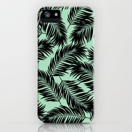 Palm Frond Tropical Décor Leaf Pattern Black on Mint Green iPhone Case