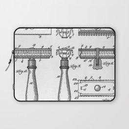 Razor Patent - Barber Art - Black And White Laptop Sleeve