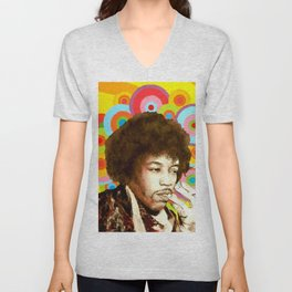 Jimi Hendrix (Peace & Love) Unisex V-Neck