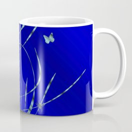 blue festive shiny metal pattern with small butterflies, Asian flowers and drops of water Coffee Mug
