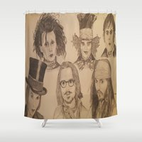 johnny depp Shower Curtains featuring Johnny Depp by Virginieferreux