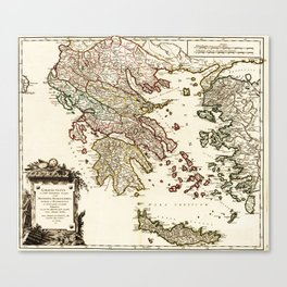 1752 Map of Greece Canvas Print