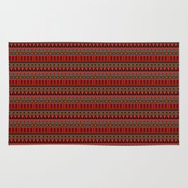 Aztec Tribal Motif Pattern in Red Mustard Salmon and Charcoal Rug