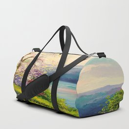 Cherry blossom by the river Duffle Bag