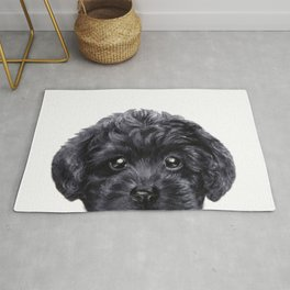 Black toy poodle Dog illustration original painting print Rug