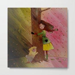 She and Her Pug Tree Metal Print