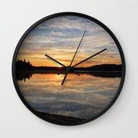 minnesota Wall Clocks featuring Minnesota Sunrise by Heartland Photography By SJW