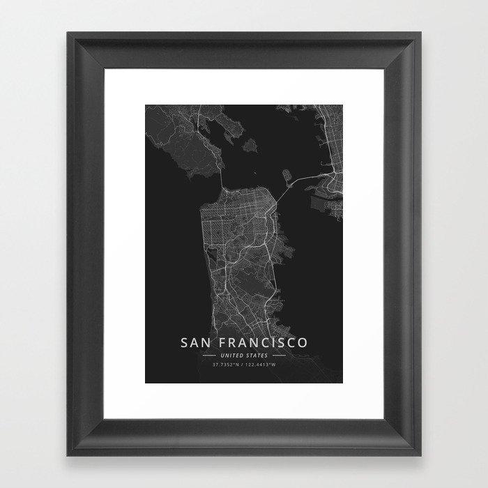 San Francisco, United States - Dark Map Gerahmter Kunstdruck