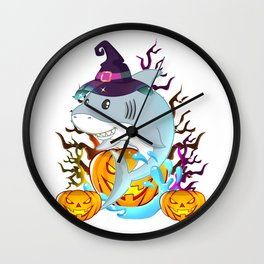 Shark With Witch Hat And Jack O Lantern Halloween T-Shirt Wall Clock
