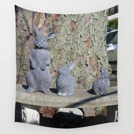 Stone Bunny Family Wall Tapestry