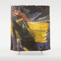 batgirl Shower Curtains featuring GCPD BATGIRL by Jacob Hilliard