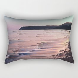 Glitched Sunset on the Ocean Rectangular Pillow