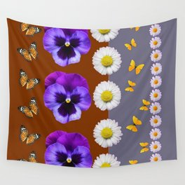 BROWN & PURPLE PANSY WHITE DAISY BUTTERFLIES SPRING Wall Tapestry