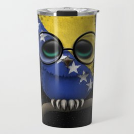 Baby Owl with Glasses and Bosnian Flag Travel Mug
