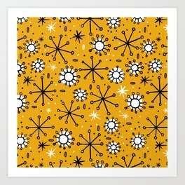 Mid Century mustard Art Print
