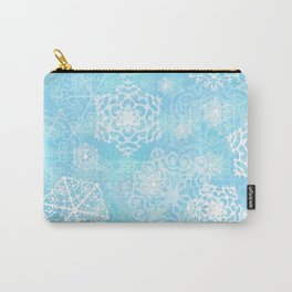 Snowflakes - Blue Carry-All Pouch