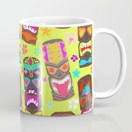 Retro Tiki Mask Luau in Lime Green Coffee Mug