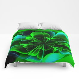 Abstract Green Flower Comforters