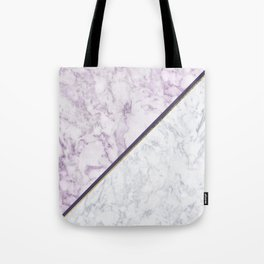 Lavender white faux gold abstract geometric marble Tote Bag