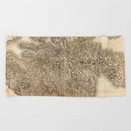 Vintage Map of Scotland (1801) Beach Towel