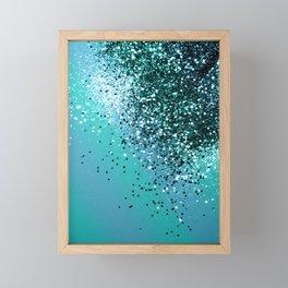 Aqua Blue OCEAN Glitter #1 #shiny #decor #art #society6 Framed Mini Art Print