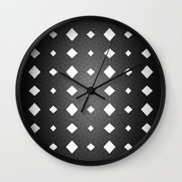 Black and White Leather Texture Diamond Pattern Wall Clock