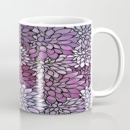 Stain Glass Floral Abstract - Purple-Lavender Coffee Mug