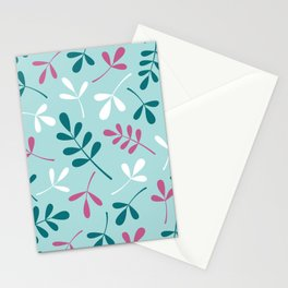 Assorted Leaf Silhouettes Teals Pink White Stationery Cards