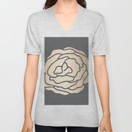 Rose in White Gold Sands on Storm Gray Unisex V-Neck