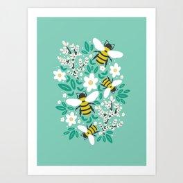 Blooms & Bees Art Print